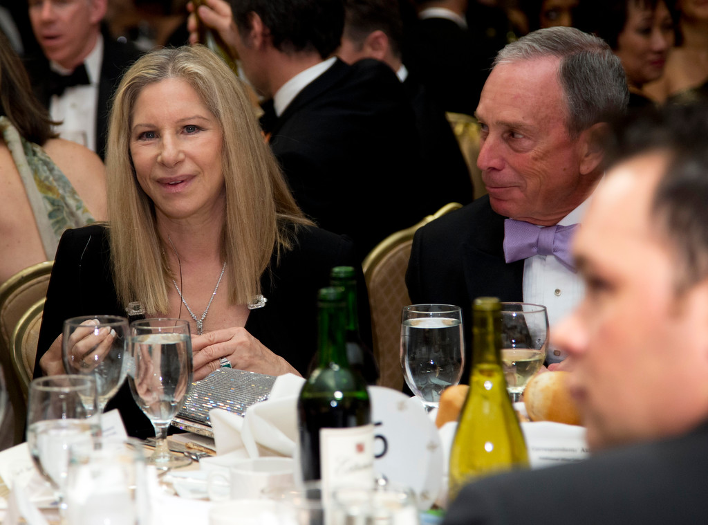 . Singer and actress Barbra Streisand, left, and New York Mayor Michael Bloomberg attend the White House Correspondents\' Association Dinner at the Washington Hilton Hotel, Saturday, April 27, 2013, in Washington.  (AP Photo/Carolyn Kaster)