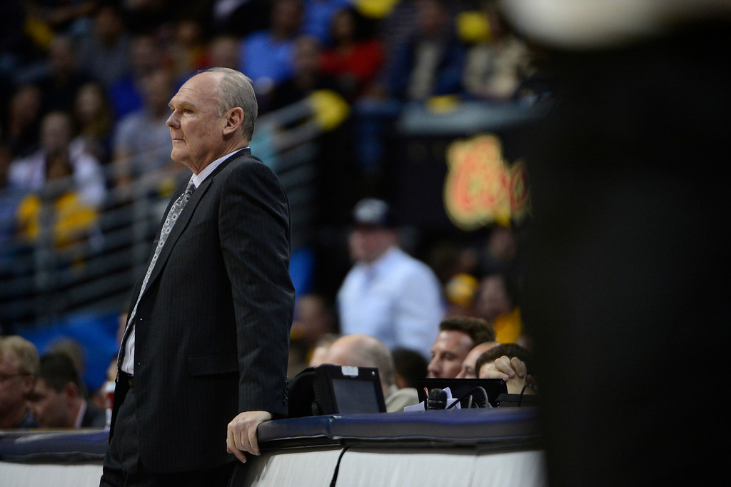 . Denver Nuggets head coach George Karl watches from the sidelines in the second quarter. The Denver Nuggets took on the Golden State Warriors in Game 5 of the Western Conference First Round Series at the Pepsi Center in Denver, Colo. on April 30, 2013. (Photo by AAron Ontiveroz/The Denver Post)