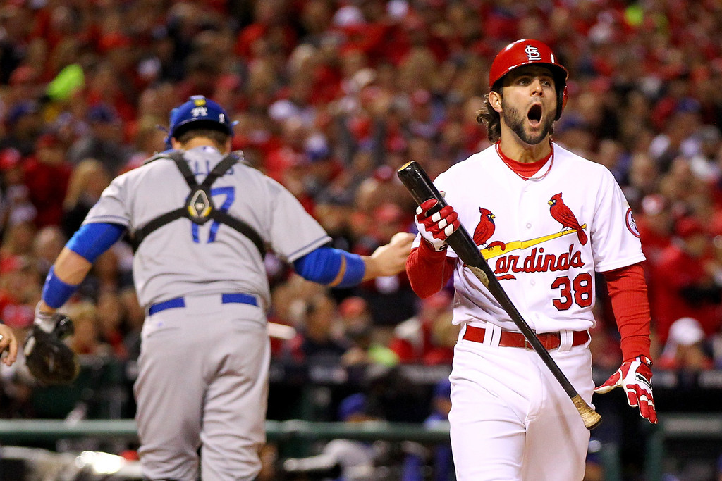 . ST LOUIS, MO - OCTOBER 18:  Pete Kozma #38 of the St. Louis Cardinals reacts after striking out in the second inning alongside A.J. Ellis #17 of the Los Angeles Dodgers in Game Six of the National League Championship Series at Busch Stadium on October 18, 2013 in St Louis, Missouri.  (Photo by Dilip Vishwanat/Getty Images)