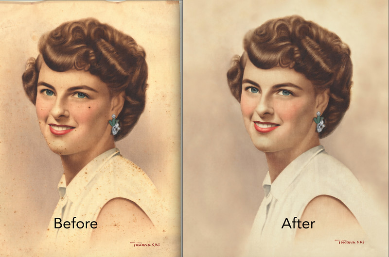 The original on the left is hand painted on silk using a black and white photograph underneath it as a stencil. The end result is a stunning hybrid painting with amazing realism. Over the years the silk became damaged with mold. The restoration on the right was restored and printed on acid free paper using archval inks. 