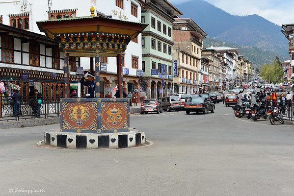 There are no traffic lights in Bhutan, and this is the only intersection with a traffic cop
