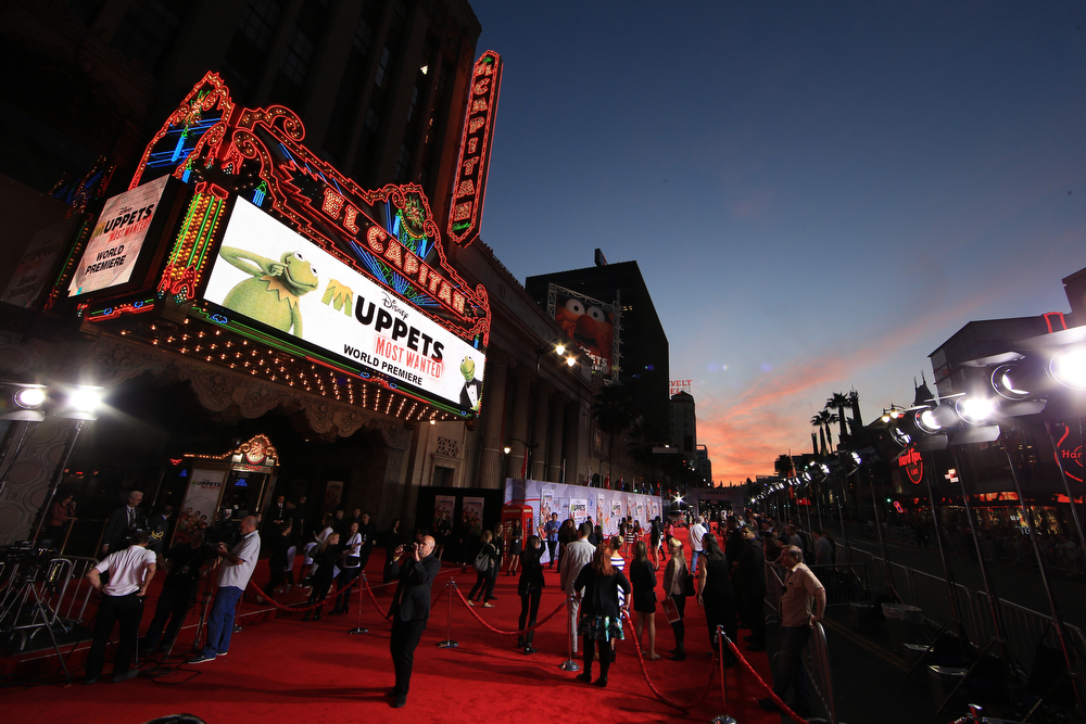 """. A general view of the atmosphere during the world premiere of Disney\'s \""""Muppets Most Wanted\"""" at the El Capitan Theatre on March 11, 2014 in Hollywood, California.  (Photo by Christopher Polk/Getty Images for Disney)"""