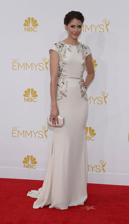. Amanda Crew on the red carpet at the 66th Primetime Emmy Awards show at the Nokia Theatre in Los Angeles, California on Monday August 25, 2014. (Photo by John McCoy / Los Angeles Daily News)