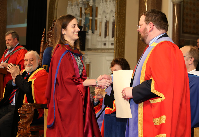 Pictured is Niamh Owens, Waterford who was conferred a Doctor of Philosophy from Dr. Derek O'Byrne, Registrar of Waterford Institute of Technology (WIT). Picture: Patrick Browne. Picture: Patrick Browne