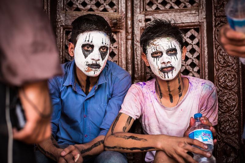 Scary faces - Holi in Kathmandu