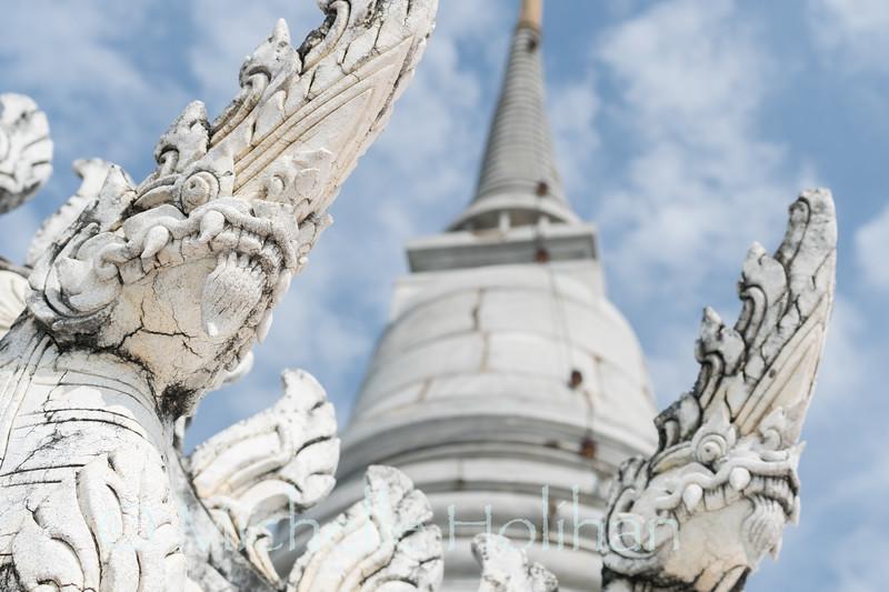 PHETCHABURI, THAILAND - NOVEMBER 5, 2018: White naga statues adorn Phra Nakhon Khiri, the summer palace.