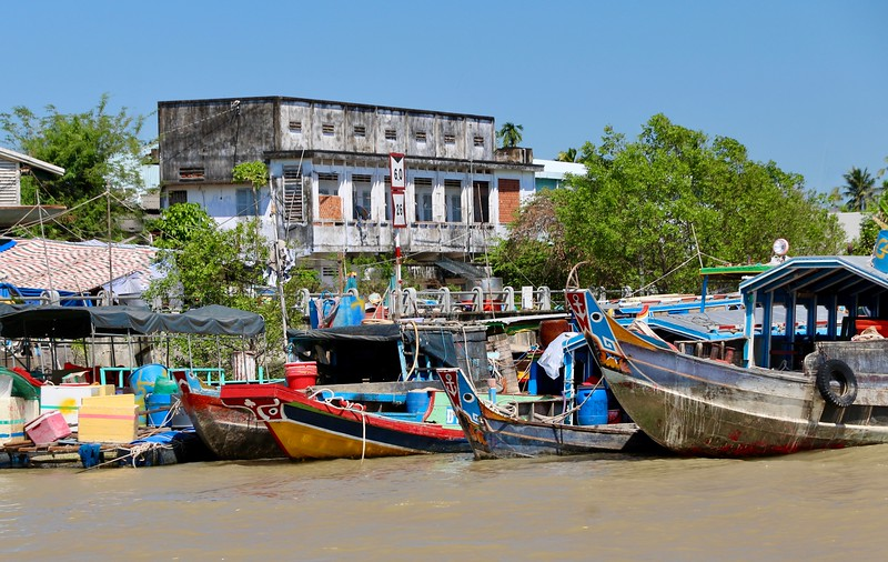 Colorful town of Ben Tre on the Mekong river delta.
