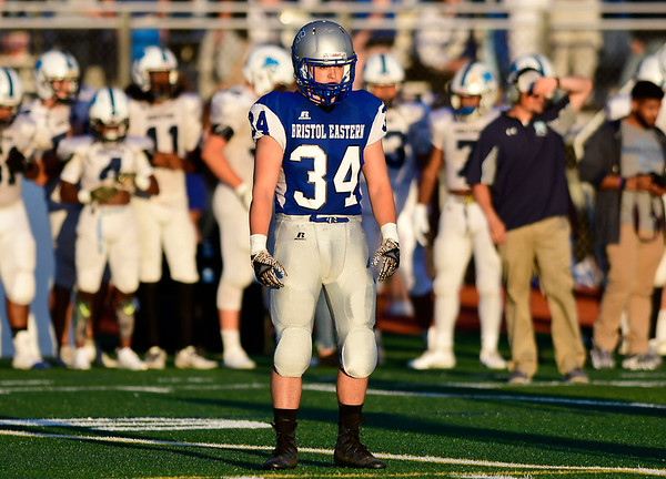 9/14/2018 Mike Orazzi | Staff Bristol Eastern High School's Joseph Morelli (34) during Friday night's football game with Middletown in Bristol.