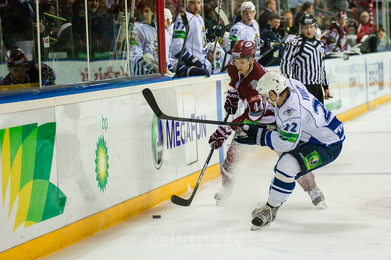 Yunkov Alexander (22) trees to stop Oskars Cibulskis (44) during the first game in final series of Nadezhda Cup between Dinamo Riga and Amur Khabarovsk In Arena Riga