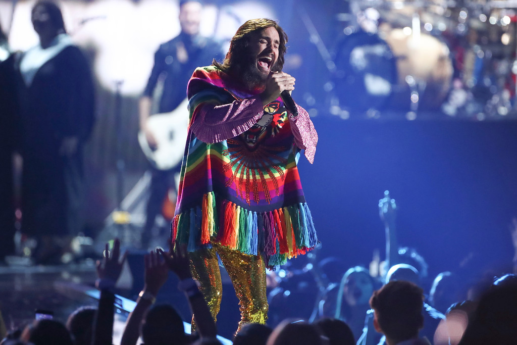 . Jared Leto of the band Thirty Seconds to Mars performs at the 2017 iHeartRadio Music Festival Day 1 held at T-Mobile Arena on Friday, Sept. 22, 2017, in Las Vegas. Thirty Seconds to Mars will perform June 16 at Blossom Music Center.  For more information, visit livenation.com/venues/14481/blossom-music-center.  (Photo by John Salangsang/Invision/AP)