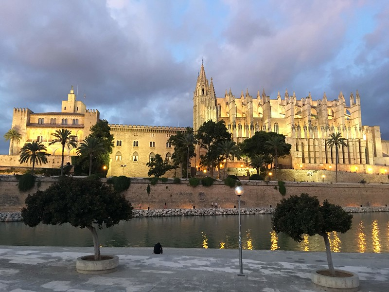 golden-hued palace and cathedral