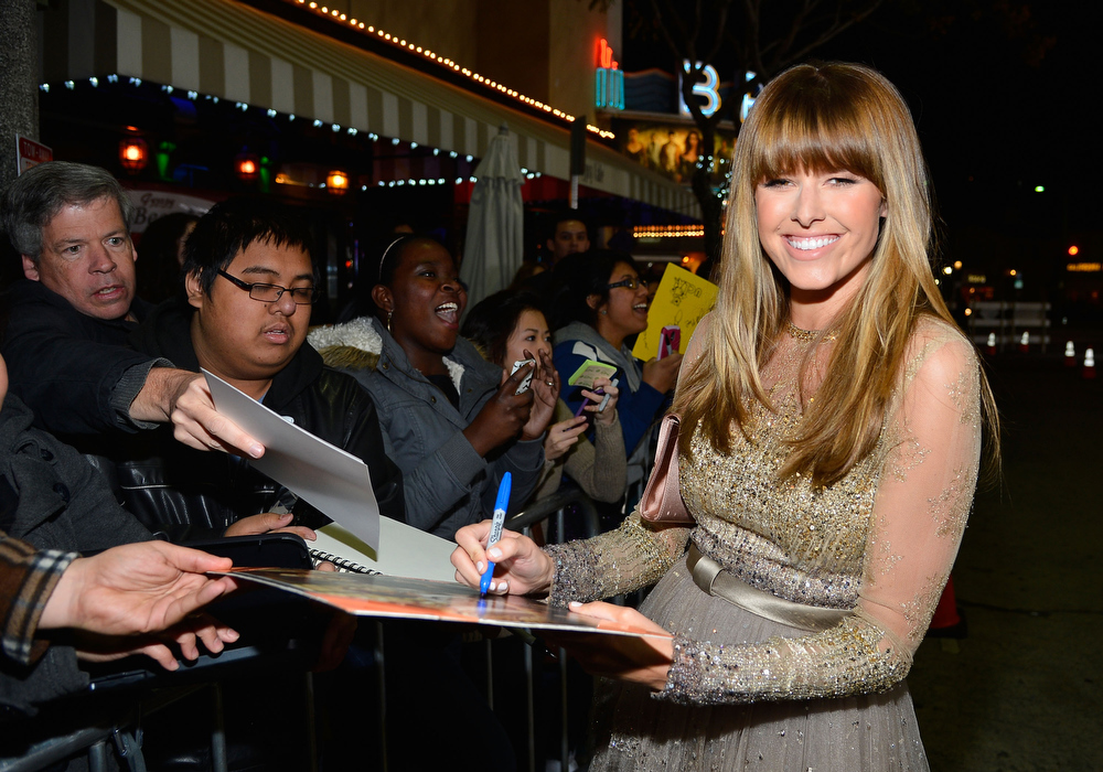 "Description of . Actress Sarah Wright attends Relativity Media\'s ""21 and Over\"" premiere at Westwood Village Theatre on February 21, 2013 in Westwood, California.  (Photo by Frazer Harrison/Getty Images for Relativity Media)"