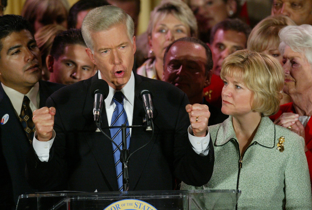 . 10/7/03- Los Angeles, CA  Governor Gray Davis speaks to his supporters in the Crystal Ballroom of the Biltmore Hotel in Los Angeles where he urged voters not to recall again. John Lazar/L.A. Daily News