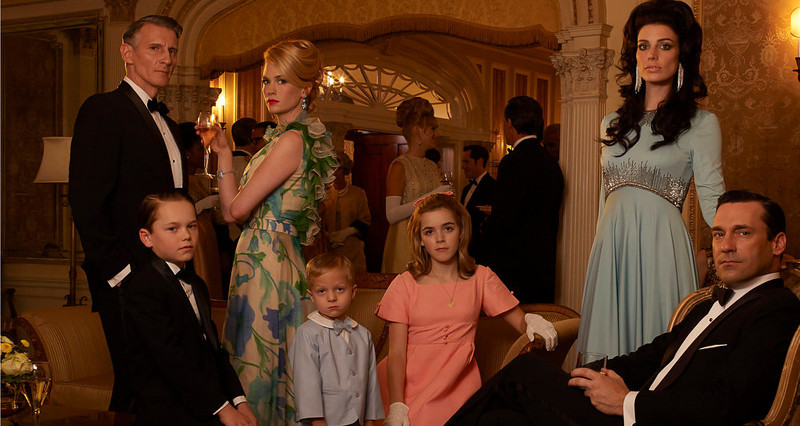 . Henry Francis (Christopher Stanley), Bobby Draper (Mason Vale Cotton), Betty Francis (January Jones), Gene Draper (Evan and Ryder Londo), Sally Draper (Kiernan Shipka), Megan Draper (Jessica Pare) and Don Draper (Jon Hamm) - Mad Men - Season 6.  (Photo by Frank Ockenfels/AMC)