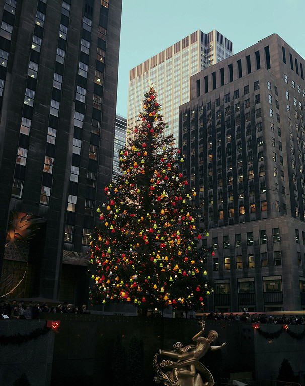 . A daytime view of New York\'s famed Rockefeller Center Christmas tree, pictured Dec. 1967. (AP Photo)