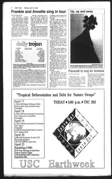 Daily Trojan, Vol. 111, No. 59, April 16, 1990