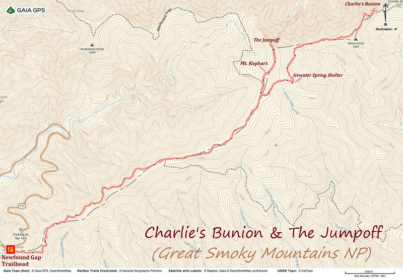 Charlie's Bunion-The Jumpoff Hike Route Map