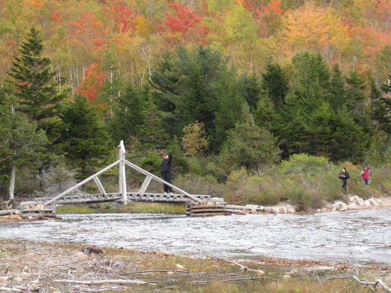 Mike on the footbridge - Jordan Pond, Acadia National Park