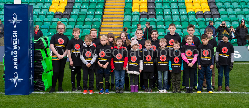 Remembrance mascots and team line up, Franklin's Gardens, 12 November 2016