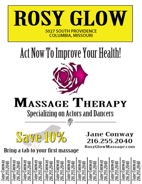 Rosy Glow Massage Therapy Flyer - w/Pulls