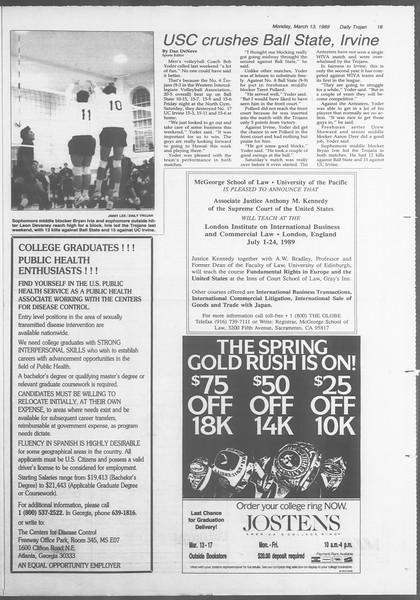 Daily Trojan, Vol. 108, No. 40, March 13, 1989