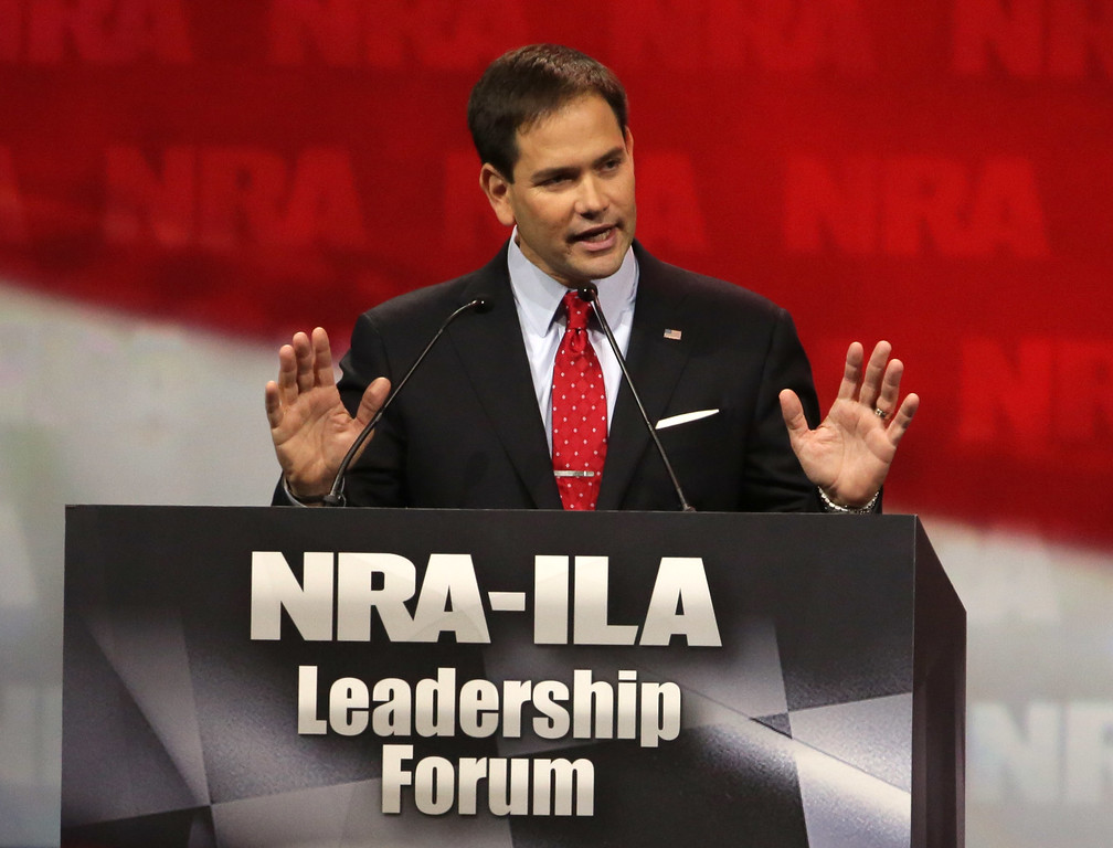 . U.S. Sen. Marco Rubio (R-FL) speaks during the National Rifle Association Annual Meeting Leadership Forum on April 25, 2014 in Indianapolis, Indiana.  (Photo by John Gress/Getty Images)