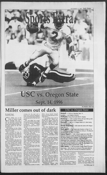 Daily Trojan, Vol. 129, No. 11, September 13, 1996