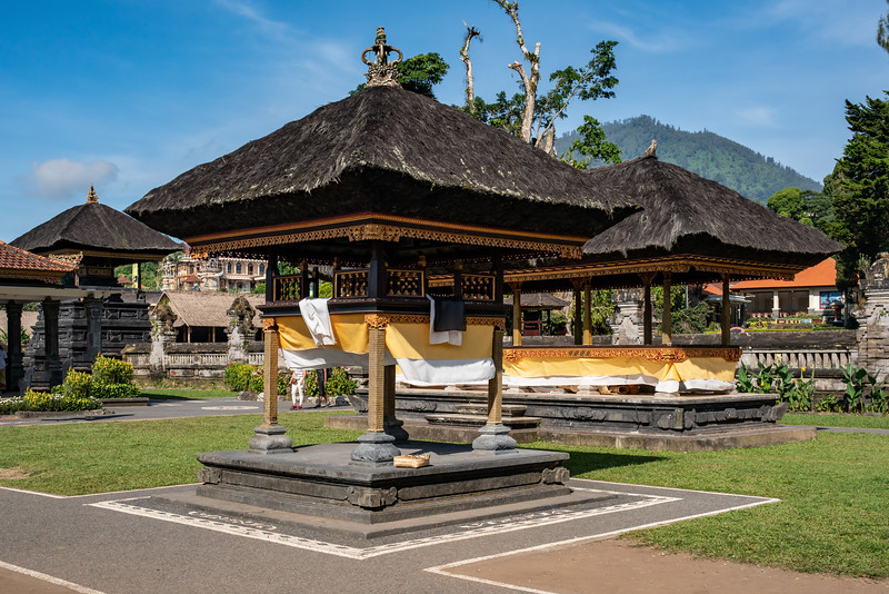 Gazebos, buildings and roof architecture in a balinese hindu temple