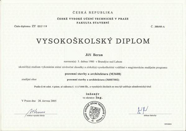 ČVUT_Vysoká škola_Diplom