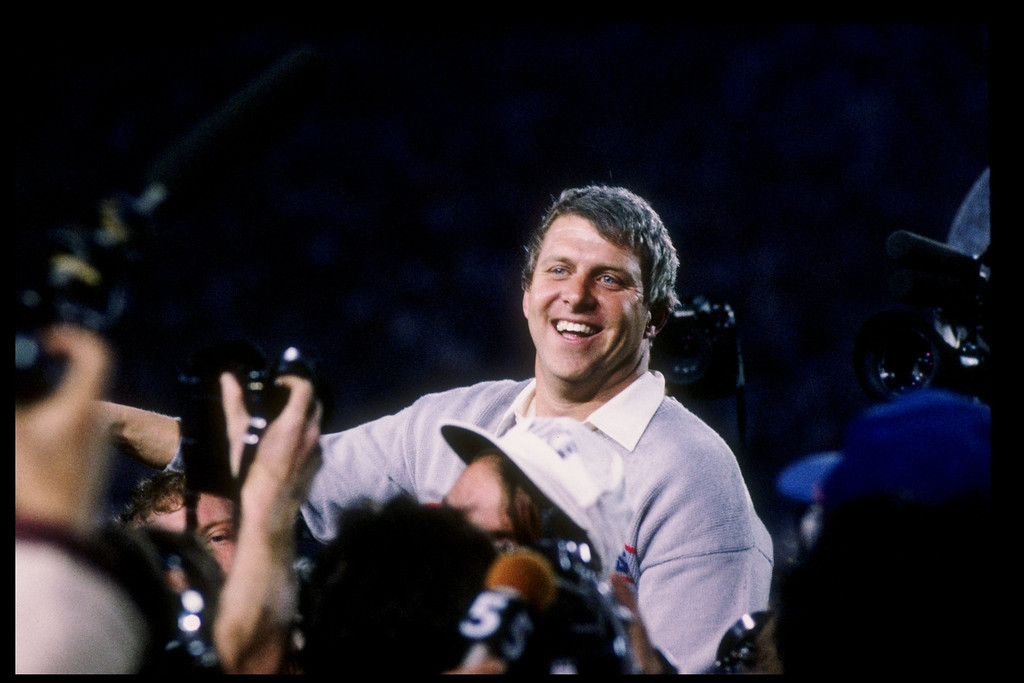 . 25 Jan 1987: Head coach Bill Parcells of the New York Giants celebrates after Super Bowl XXI against the Denver Broncos at the Rose Bowl in Pasadena, California. The Giants won the game 39-20.