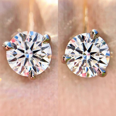 1.05ctw Round Brilliant Diamond Stud Earrings AGS 000 By Brian Gavin AGS E SI1