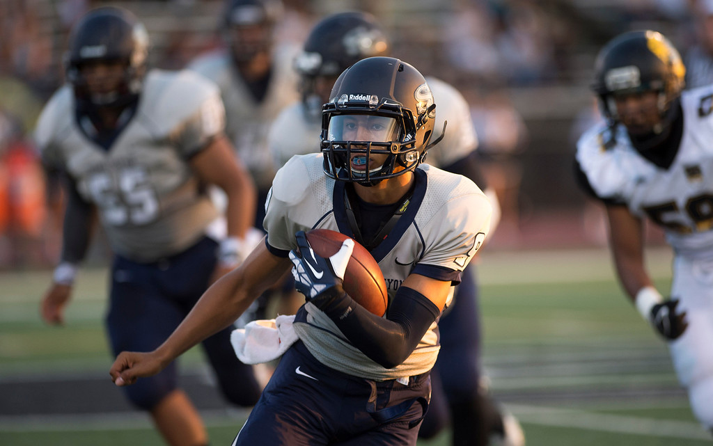 . Sierra Canyon\'s Andre Nunez carries the ball during their game against San Fernando at Granada Hills High School in Granada Hills Friday, August 30, 2013. (Hans Gutknecht/Los Angeles Daily News)