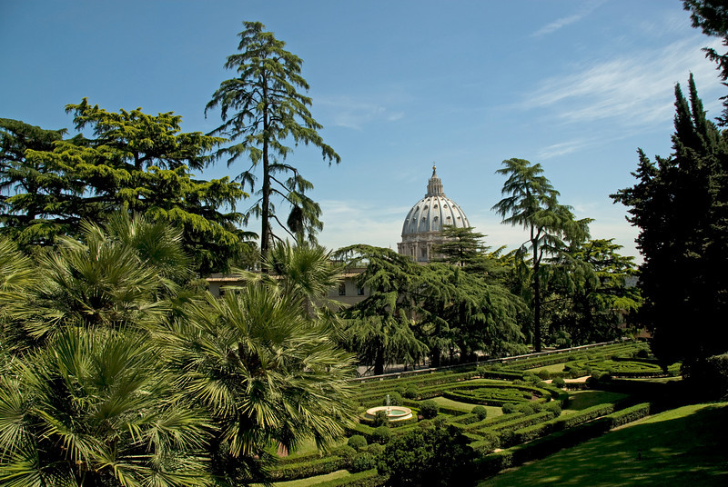 View of the St Peter's Basilica dome in Vatican City Gardens - Rome, Italy