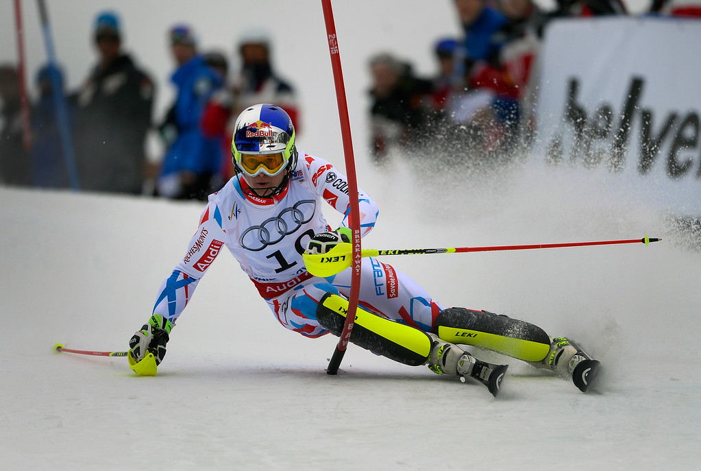 . BEAVER CREEK, CO - FEBRUARY 15: Alexis Pinturault of France competes in the first run of the Men\'s slalom during the FIS  Alpine World Ski Championships in Beaver Creek, CO. February 15, 2015. (Photo By Helen H. Richardson/The Denver Post)