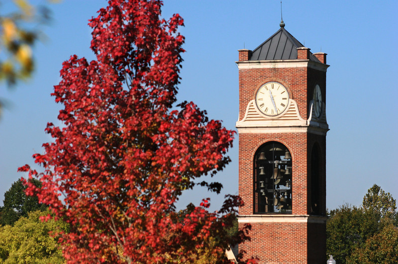 Hollifield Carillon (bell tower) on a Fall day at Gardner-Webb University.