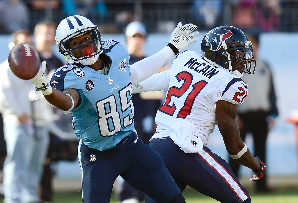 . Houston Texans cornerback Brice McCain (21) breaks up a pass intended for Tennessee Titans wide receiver Nate Washington (85) in the second quarter of an NFL football game Sunday, Dec. 29, 2013, in Nashville, Tenn. (AP Photo/Mark Zaleski)
