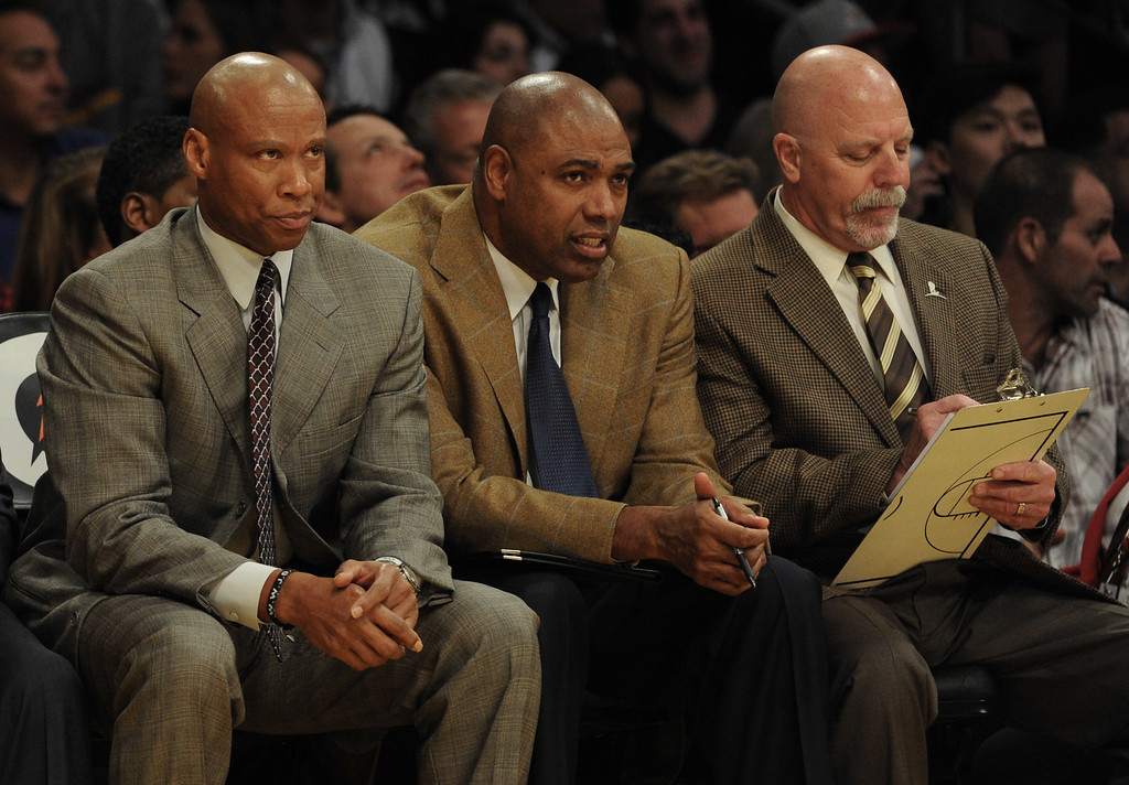 . Los Angeles Lakers head coach Byron Scott, left, looks on against the Minnesota Timberwolves in the first half of a NBA basketball game at Staples Center on Tuesday, Feb. 2, 2015 in Los Angeles.   (Photo by Keith Birmingham/ Pasadena Star-News)