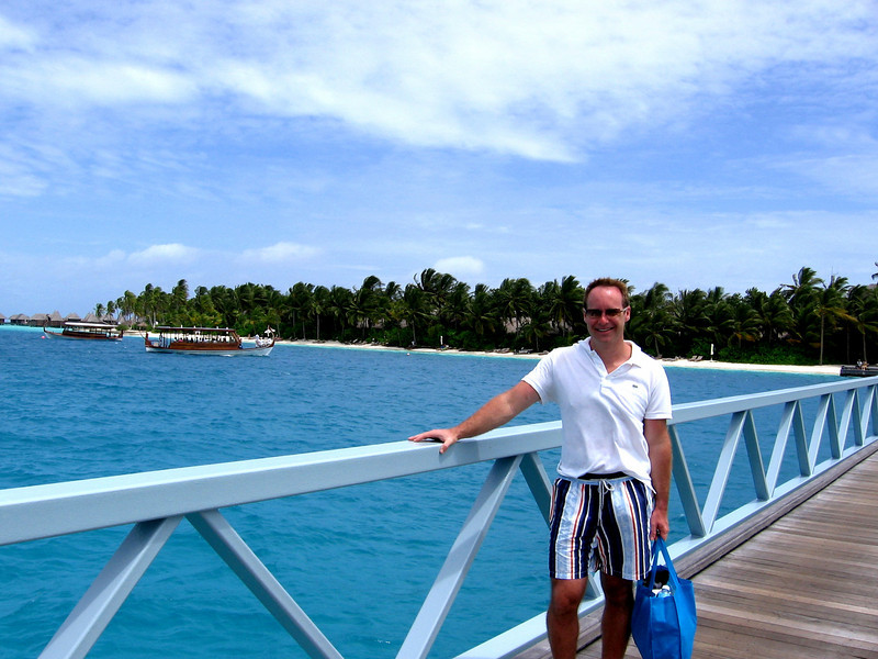 Matt on the way to the spa crossing Rangali Bay