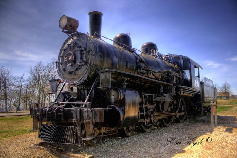 Restored steam engine train, Queen Wilhelmina State Park, AR
