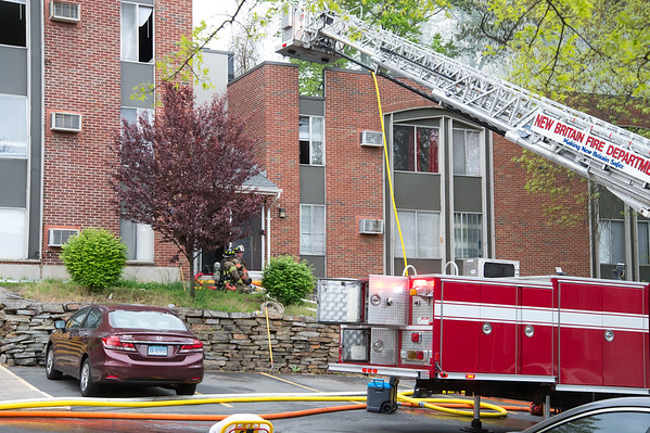 05/10/19 Wesley Bunnell | Staff New Britain Fire Department, assisted by Bristol, Hartford and Meriden, responded to a fire in an apartment building at 180 Allen St on Friday afternoon which appeared to be located on the third floor.