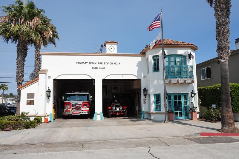 The old historic Newport Beach fire station house on Balboa Island.