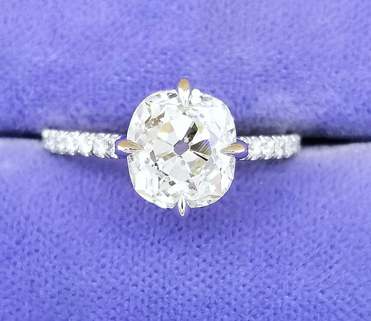 "The ""Rose"" Solitaire - Featuring a 2.36ct Old Mine Cushion Diamond"