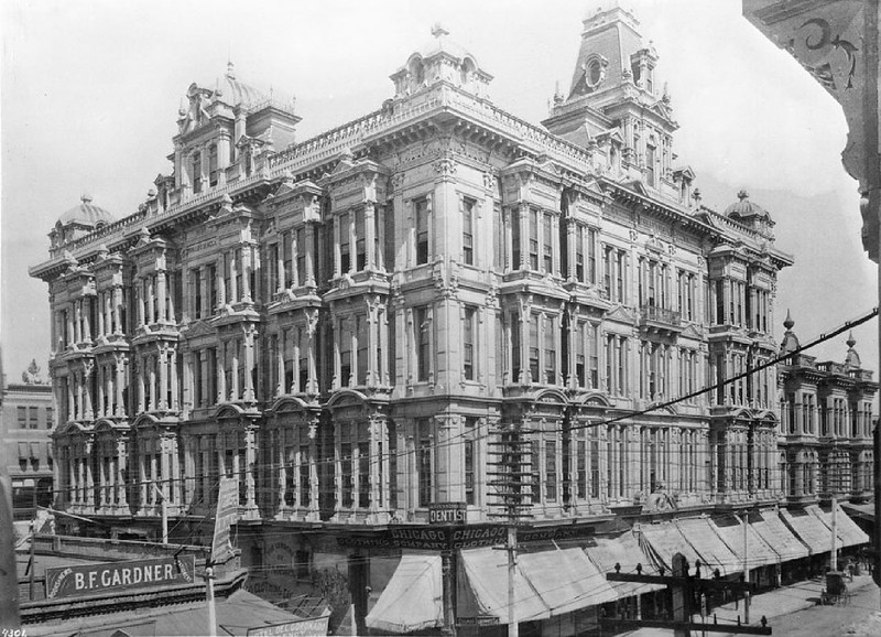 Exterior view of Phillips Block, corner of Spring and Franklin Streets, Los Angeles, ca.1890