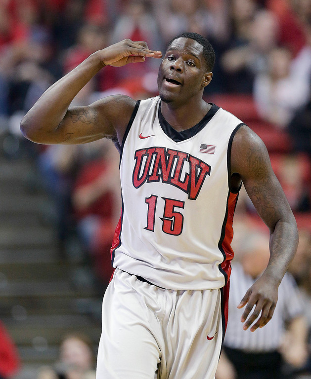 . UNLV\'s Anthony Bennett salutes the bench with three fingers after hitting a 3-point basket against San Diego State during an NCAA college basketball game in Las Vegas in February, 2013. The Cleveland Cavaliers selected Bennett with the No. 1 pick Thursday night, June 27, 2013, making him the first Canadian to be the top choice and getting the NBA draft off to a surprising start. (AP Photo/Julie Jacobson, File)