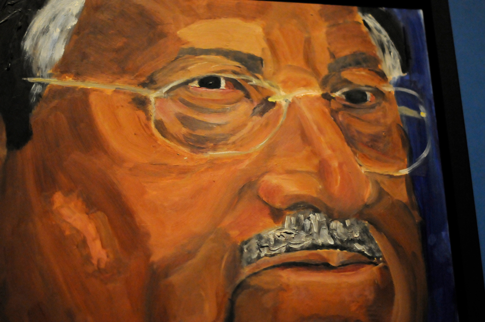 """. A detail of a portrait of former Pakistani President Pervez Musharraf, which is part of the exhibit \""""The Art of Leadership: A President\'s  Diplomacy,\"""" is on display at the George W. Bush Presidential Library and Museum in Dallas, Friday, April 4, 2014.   (AP Photo/Benny Snyder)"""