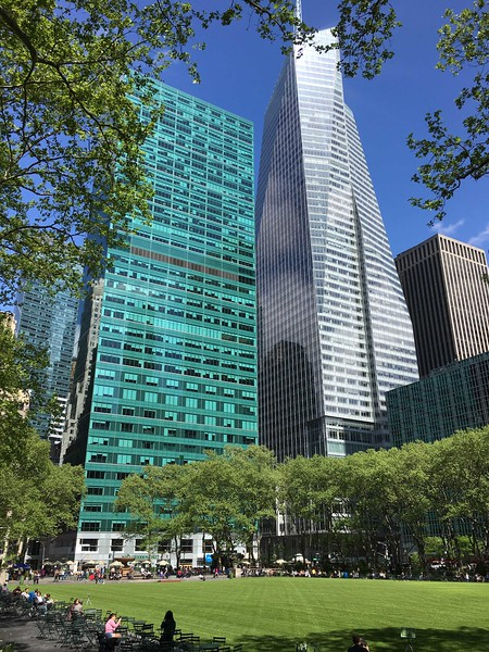 Bryant Park, looking NW to Sixth Avenue and 42nd St.