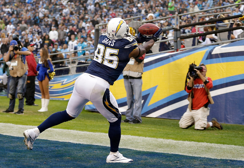 . San Diego Chargers tight end Antonio Gates grabs a touchdown pass against the Carolina Panthers in the second half during an NFL football game Sunday, Dec. 16, 2012, in San Diego. (AP Photo/Gregory Bull)