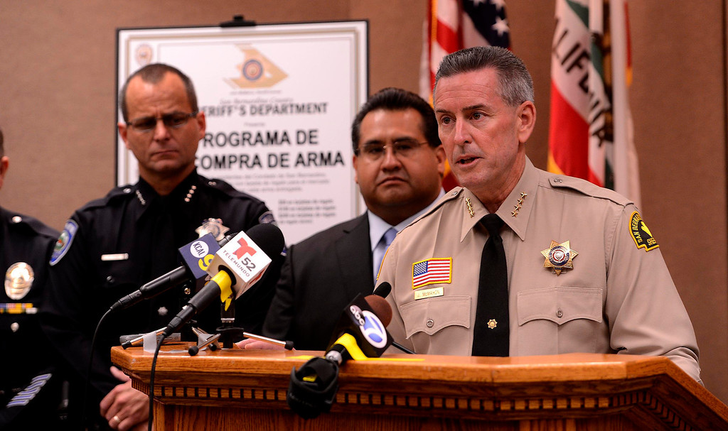 . San Bernardino County Sheriff John McMahon announces the first Countywide Gun Buy Back Program May 31, 2013.   GABRIEL LUIS ACOSTA/STAFF PHOTOGRAPHER.