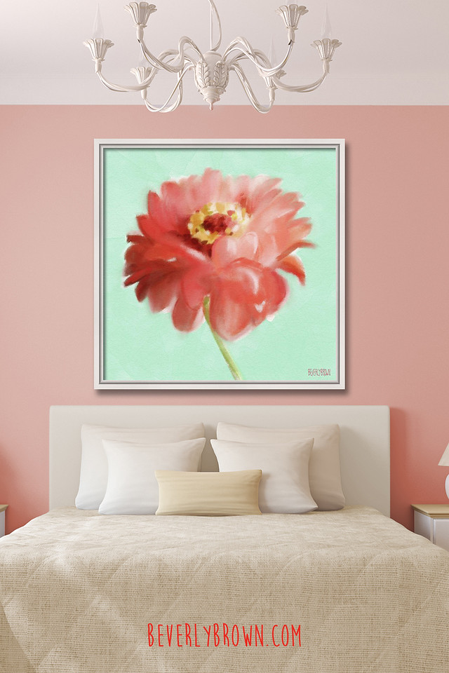 Coral & Mint Bedroom with Framed Canvas Zinnia Floral Art Over the Bed by Beverly Brown
