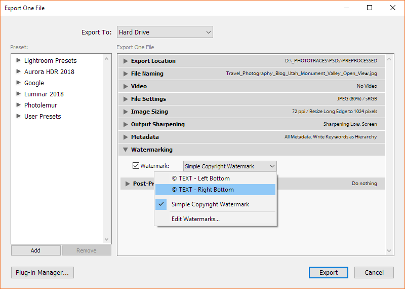 Selecting custom watermark in Lightroom's export module